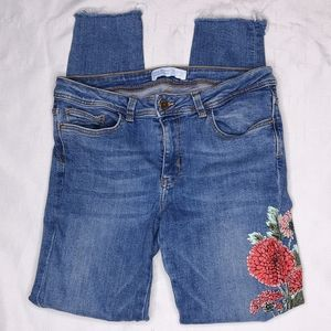 Zara Basic Denim Painted Floral Denim Skinny Jean